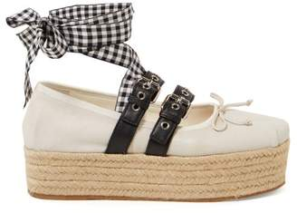 Miu Miu Buckle Fastening Leather Ballerina Espadrilles - Womens - White