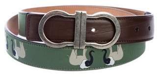 Salvatore Ferragamo Leather-Trimmed Waist Belt