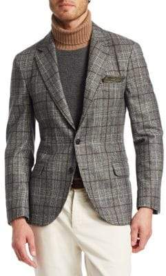 Brunello Cucinelli Glen Plaid Wool Blazer