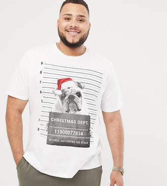 Jack and Jones Originals Plus Size Holidays T-Shirt With Bulldog Graphic