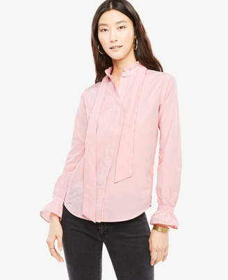 Ann Taylor Striped Poplin Ruffle Tie Neck Blouse