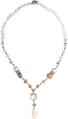 "Stephen Dweck Sterling Silver 28"" Gemstone Tassel Necklace"