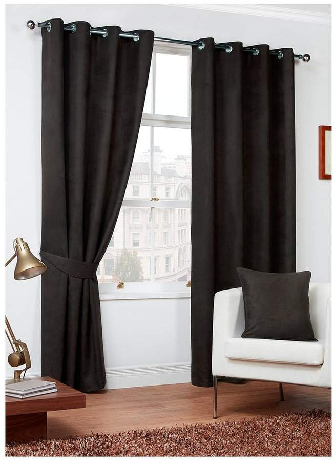 Faux Suede Eyelet Lined Curtains 168x229cm