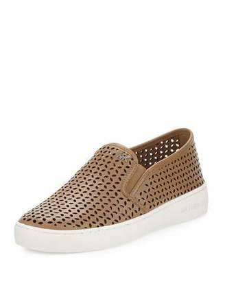 MICHAEL Michael Kors Olivia Laser-Cut Leather Skate Sneaker, Dark Khaki $135 thestylecure.com