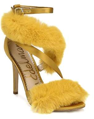Sam Edelman Adelle Faux Fur Ankle Strap High-Heel Sandals