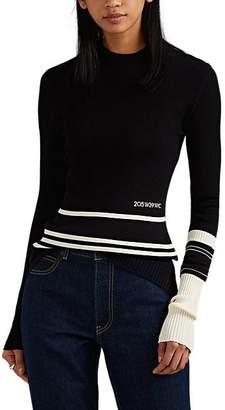 Calvin Klein Women's Striped Rib-Knit Sweater - Black Ivory Navy
