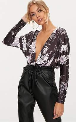 PrettyLittleThing Black Slinky Floral Print Long Sleeve Thong Bodysuit
