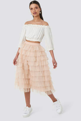 32f9ce85f NA-KD Schanna X Tulle Maxi Skirt Nude Pink