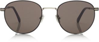 Jimmy Choo HENRI Black Metal Oval Sunglasses