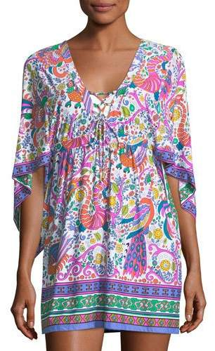 Trina Turk Jungle Beach Printed Coverup Tunic