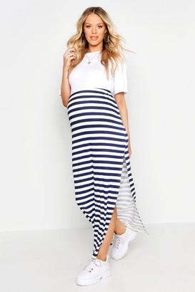 boohoo Maternity Stripe Maxi Skirt