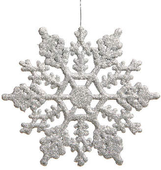 Asstd National Brand Club Pack Of 24 3.75 Shimmering Silver Glitter Snowflake Ornaments