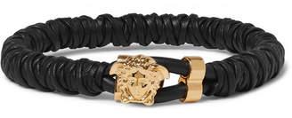 Versace Woven Leather And Brass Bracelet - Black