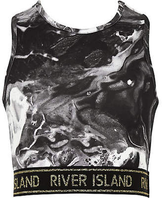 River Island Girls RI Active Black marble crop top