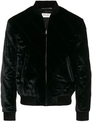 Saint Laurent quilted velvet bomber jacket