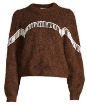 Ganni Heavy Soft Wool Knit Puff Sleeve Pullover