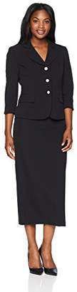 Le Suit Women's Plus Size Crepe 3 Button Notched Petal Column Skirt
