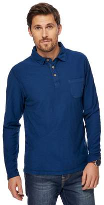 Big And Tall Navy Long Sleeve Vintage Wash Polo Shirt
