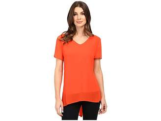 Vince Camuto Short Sleeve Shirt Tail V Blouse with Knit Underlay Women's Clothing