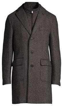 Corneliani Wool Herringbone ID Topcoat