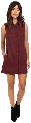 Michael Stars Tencel Sleeveless Shirtdress w/ Pleated Shoulder Women's Dress
