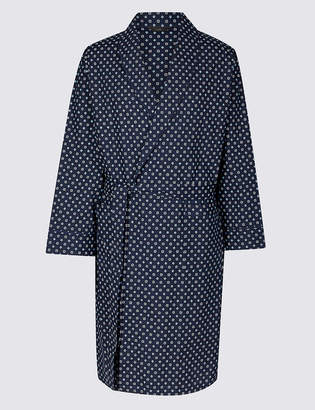 M&S Collection Cotton Blend Printed Dressing Gown with Belt