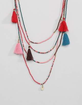 Pieces Layer Beaded Necklace With Tassles