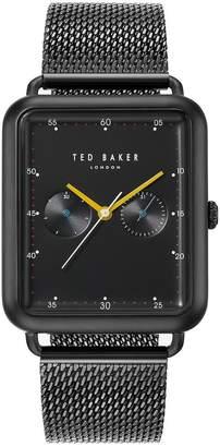 Ted Baker Black Rectangular Dial Black Stainless Steel Mesh Mens Watch