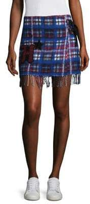 Tommy Hilfiger Collection Tartan Fringe Mini Skirt