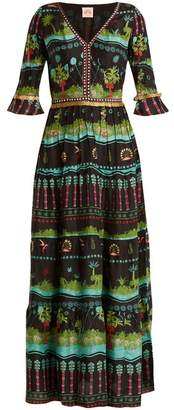 Le Sirenuse, Positano - Anita Eden Print V Neck Silk Dress - Womens - Black Multi