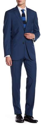 Hart Schaffner Marx Medium Blue Two Button Notch Lapel Wool New York Fit Suit