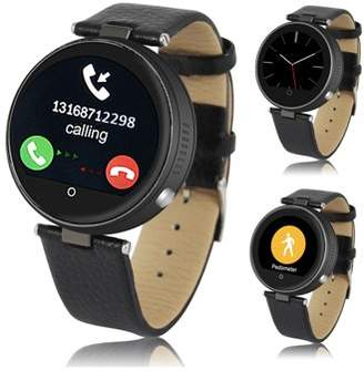 Indigi (Black) H365 HD Touch Screen Bluetooth-Sync SmartWatch & Phone w/ Heart Rate Sensor + SIRI for iOS & Android