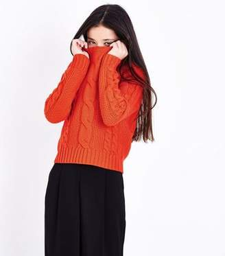 New Look Teens Orange Cable Knit Jumper