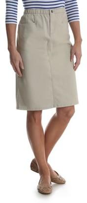 Chic Women's Stretch L-Pocket Long Denim Skirt