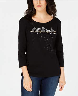 Karen Scott Halloween Spooky Cat Embellished Cotton 3/4-Sleeve Top