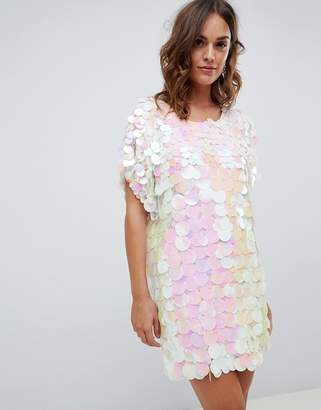 A Star Is Born embellished t shirt dress in iridescent