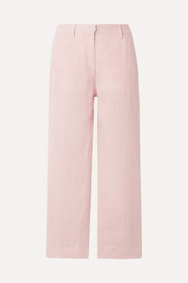 Mansur Gavriel Cropped Linen Straight-leg Pants - Blush