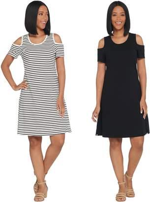 Denim & Co. Set of 2 Stripe & Solid Cold Shoulder Dresses