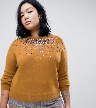 Asos DESIGN Curve sweater with scattered sequin detail