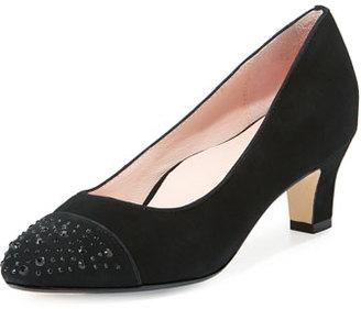 Taryn Rose Trulie Crystal Suede Low-Heel Pump, Black $259 thestylecure.com