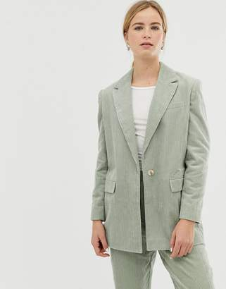 Asos Design DESIGN sage cord tailored suit blazer