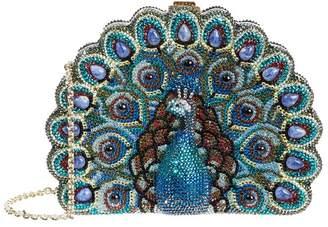 Judith Leiber Crystal Peacock Minaudière Clutch