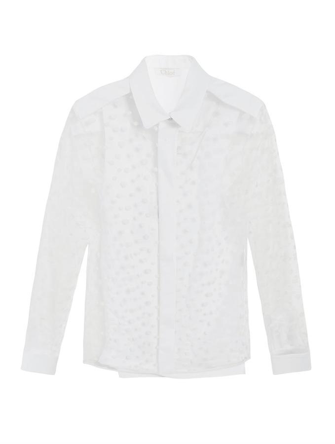 Chloé Polka-dot tulle blouse