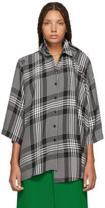 Balenciaga Black and White Check Double Shirt