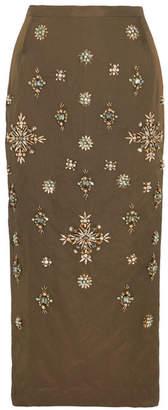 Biyan - Niez Embellished Taffeta Midi Skirt - Green