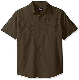 Southpole Men's Short Sleeve Solid Woven Shirt with Chest Pockets