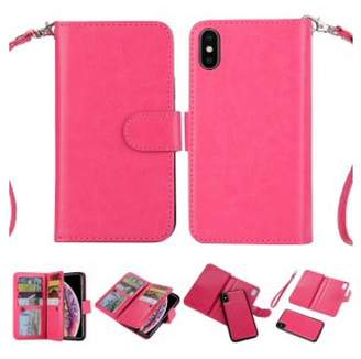 "HLC 2 in 1 Leather Wallet Case with 9 Credit Card Slots and Removable Back Cover for iPhone Xs Max(6.5"") -Hot Pink"