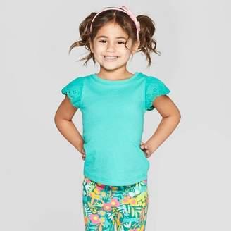 Cat & Jack Toddler Girls' Cap Sleeve T-Shirt Green