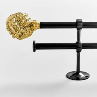 Pottery Barn Teen The Emly &amp Meritt Gold Knot Finial + Dark Iron Hardware Set, Double, 28''-48'' .75'' Diameter