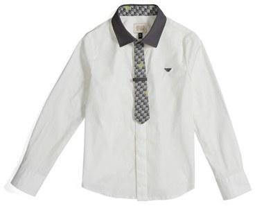 Armani JuniorBoy's Armani Junior Dress Shirt & Logo Print Tie Set